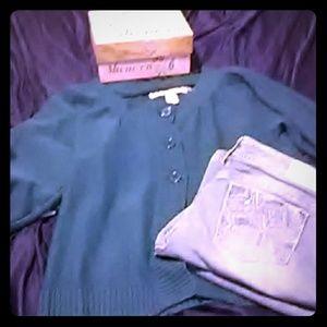 3 Button Blue/Green Sweater